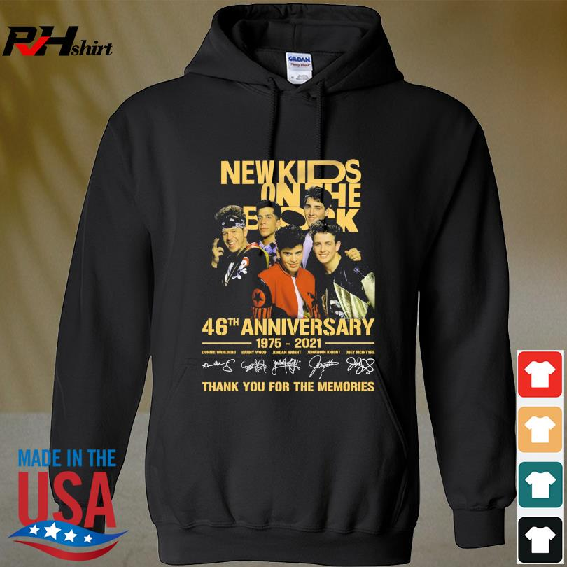 Official New Kids On The Block 46th anniversary 1975 2022 thank you for the memories signatures s hoodie