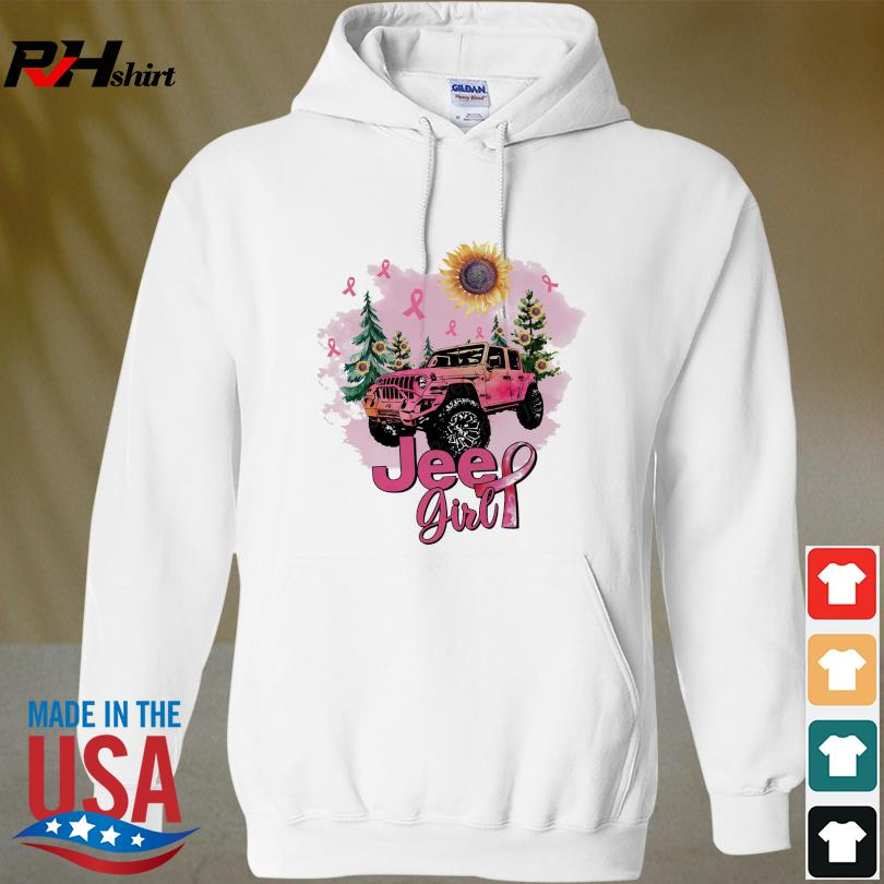 Official Sunflower and Jeep Girl Breast Cancer s hoodied