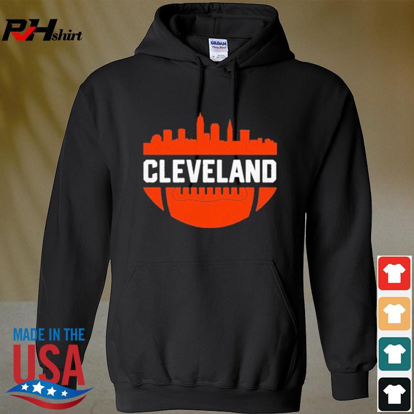 Vintage Downtown Cleveland Ohio Skyline Football Shirt hoodie