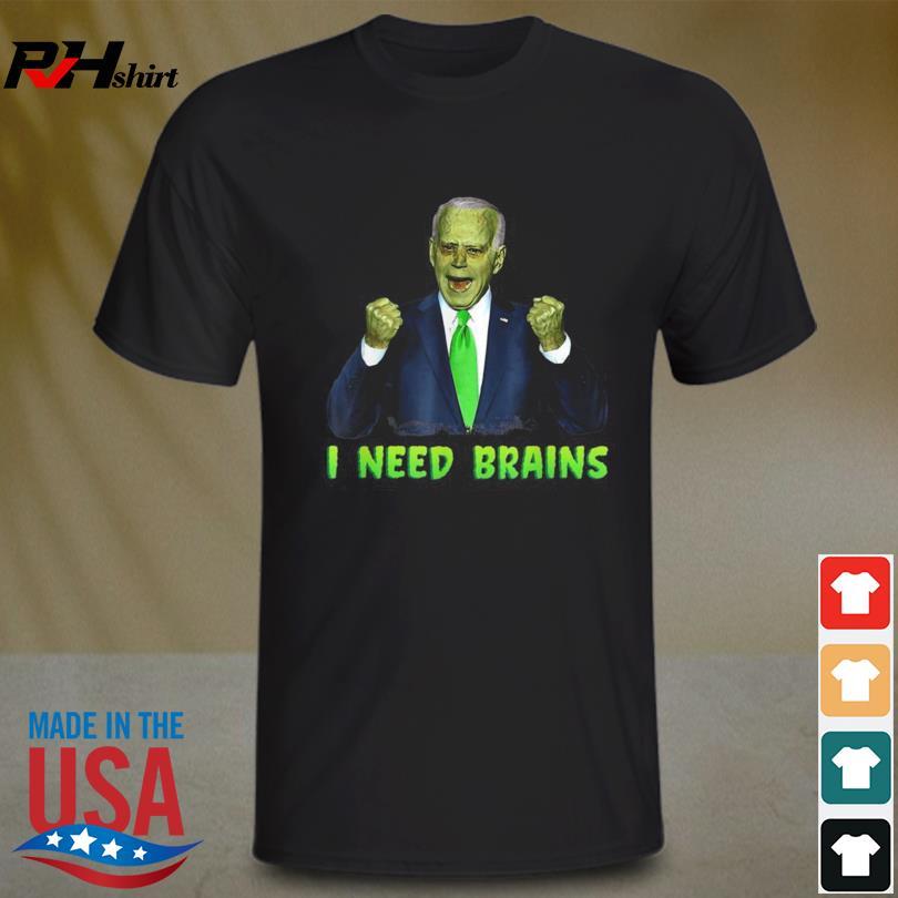 Biden Zombie I Need Brains Horror Halloween Shirt