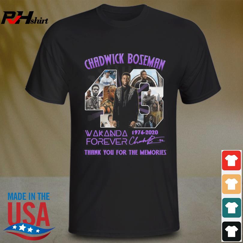 Chadwick Boseman 43 Wakanda Forever 1976 2020 thank you for the memories signature shirt