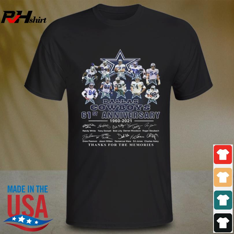 Dallas Cowboys 61st anniversary 1960 2021 thanks for the memories signatures shirt