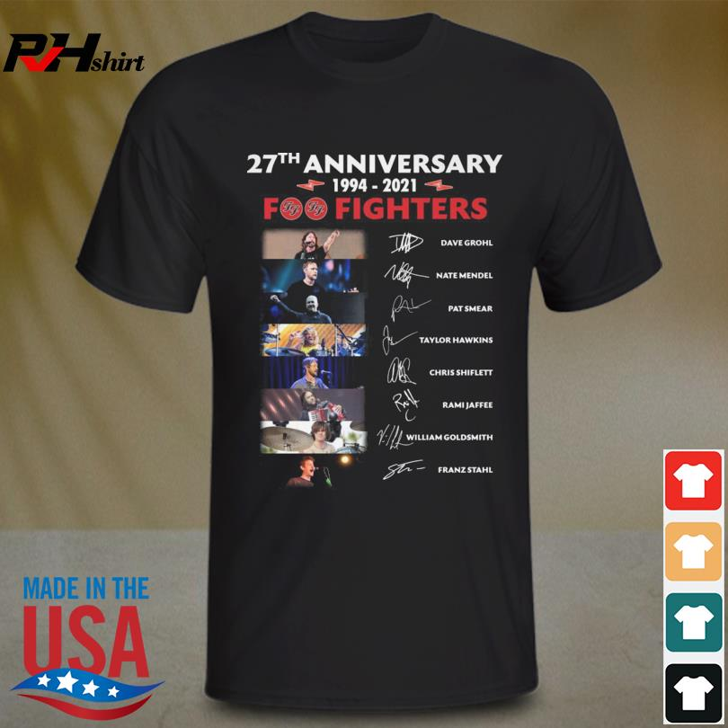 Foo Fighters 27th anniversary 1994 2021 signatures shirt