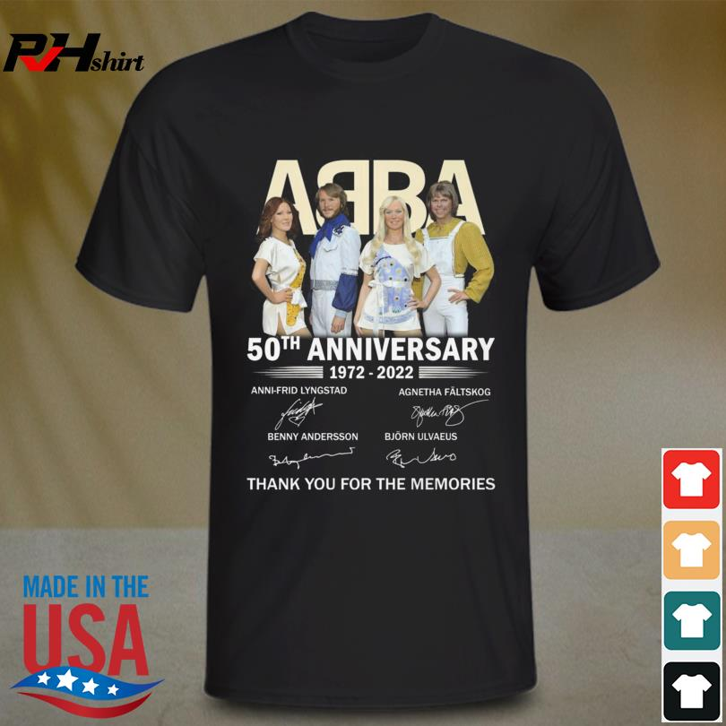 Funny ABBA 50th anniversary 1972 2022 thank you for the memories signatures shirt