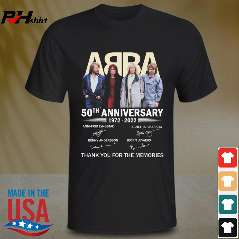 Official ABBA 50th anniversary 1972 2022 thank you for the memories signatures t-shirt