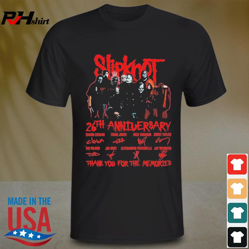 Official Slipknot 26 years 1995 2021 thank you for the memories signatures shirt