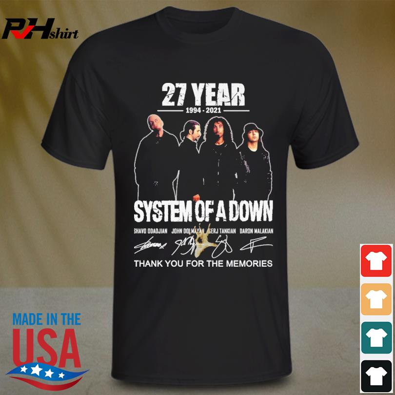 System of a Down 27 years 1994 2021 thank you for the memories signatures shirt