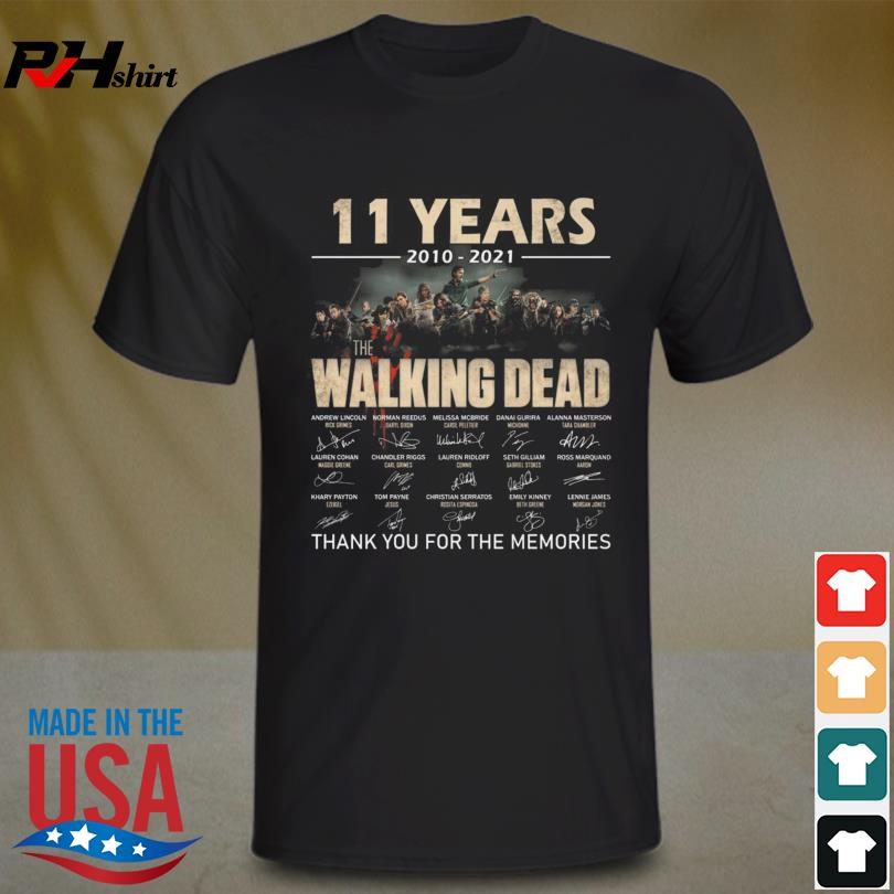 The Walking Dead 11 years 2010 2021 thank you for the memories signature shirt