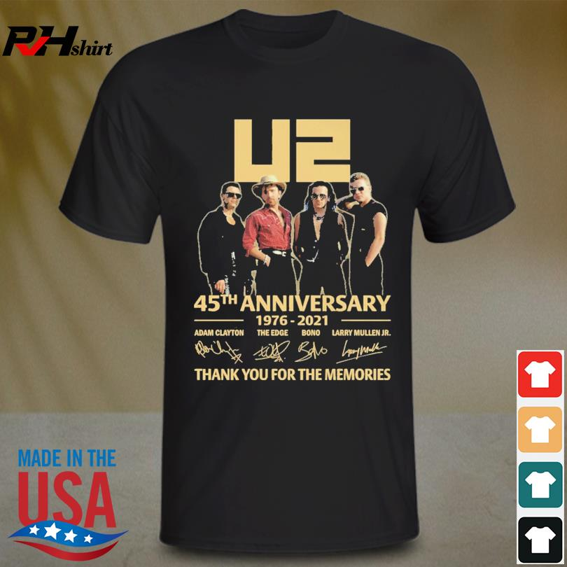 U2 45th anniversary 1976 2021 thank you for the memories signature shirt