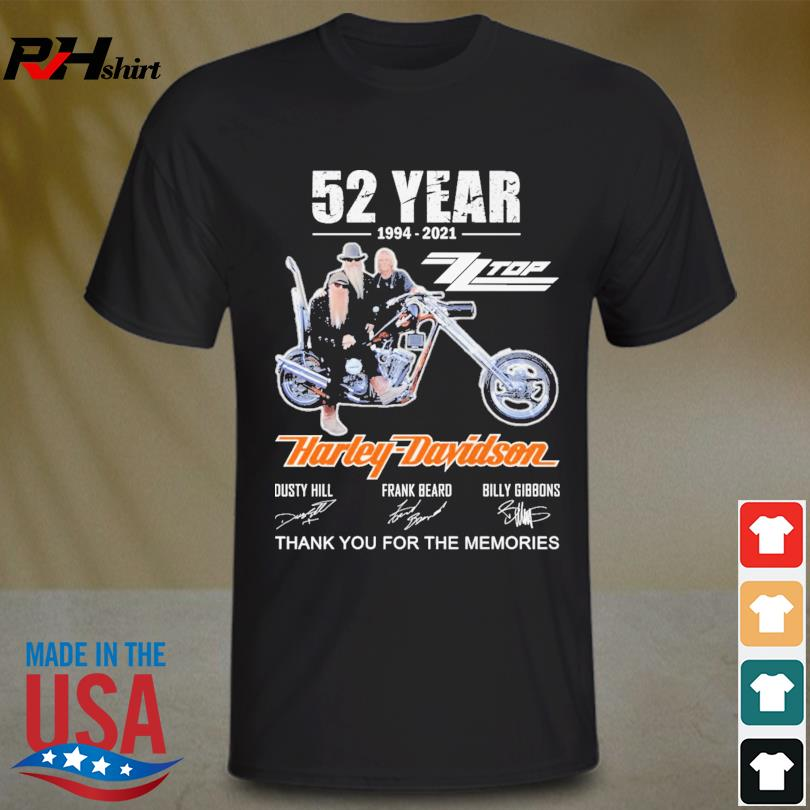 ZZ Top Harley-Davidson 52 years 1994 2021 thank you for the memories signatures shirt